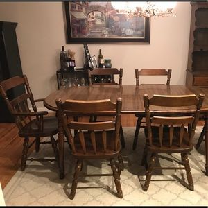 Solid wood table, chairs and matching hutch for sale